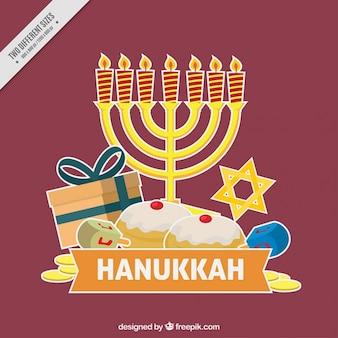 Fundo roxo para hanukkah com itens tradicionais