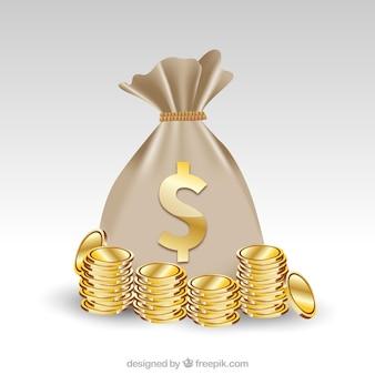 Fundo, saco, dólar, símbolo, dourado, moedas