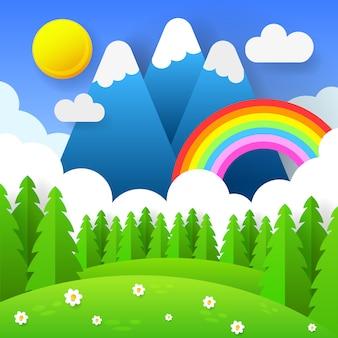 Fundo sazonal bonito com arco-íris brilhante, flores na grama.