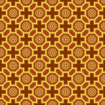 Fundo sem costura antigo da estrutura de flores com geometria poligonal chinesa oriental