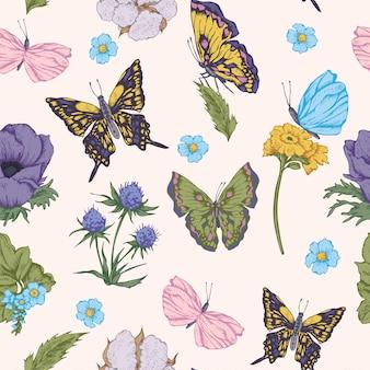 Fundo sem costura com borboletas