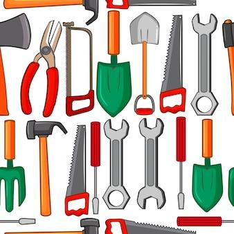 Fundo sem costura com ferramentas manuais
