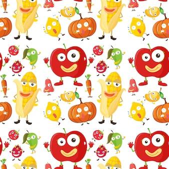 Fundo sem costura com ilustração de frutas e veggies