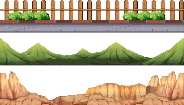 Fundo sem costura com montanhas e cerca