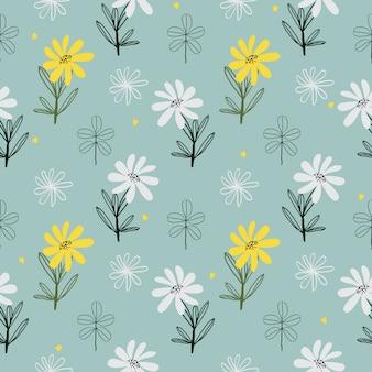 Fundo sem costura com padrão floral fofo de superfície