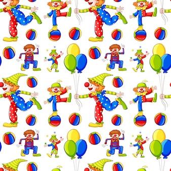Fundo sem costura com palhaços e balões