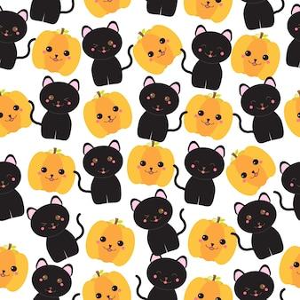 Fundo sem costura da ilustração de halloween com gatos pretos e jack o lantern, adequado para papel de parede, papel de sucata e cartão postal