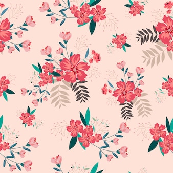 Fundo sem costura flor rosa vintage