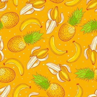 Fundo sem costura fofo com abacaxis e bananas apetitosos maduros