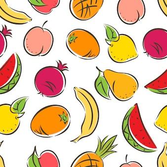 Fundo sem costura fofo com frutas estilizadas coloridas