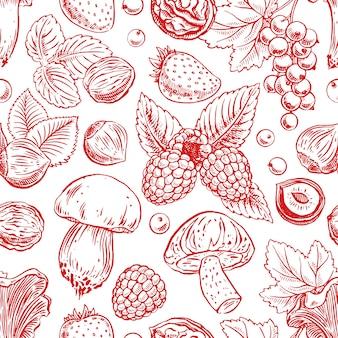 Fundo sem costura fofo com frutas vermelhas maduras
