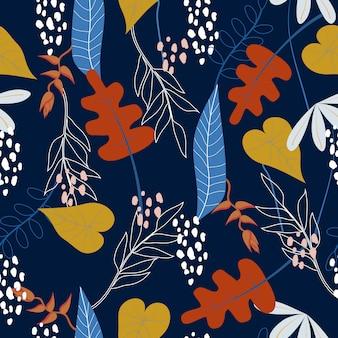 Fundo sem costura padrão floral tropical