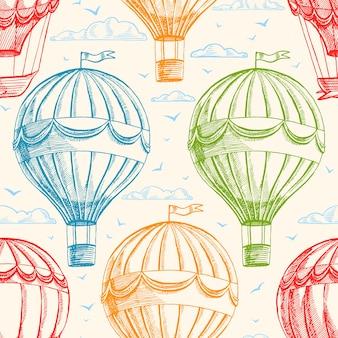 Fundo sem costura vintage com balões voando no céu, nuvens e pássaros