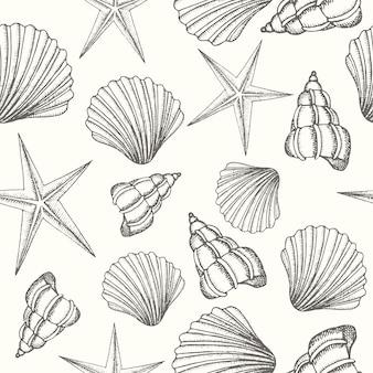 Fundo sem costura vintage com conchas de mão desenhada