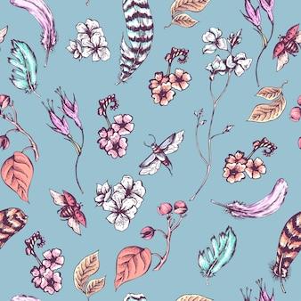 Fundo sem costura vintage com flores, besouros e penas