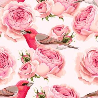 Fundo sem costura vintage com rosas inglesas e pássaros