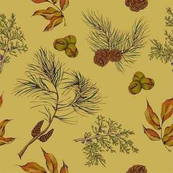 Fundo sem costura vintage de floresta com corujas, ramos de abeto um