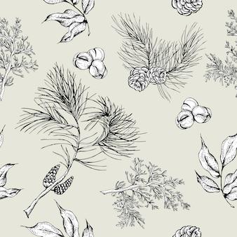 Fundo sem costura vintage de floresta com corujas, ramos de abeto
