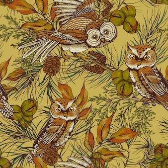 Fundo sem costura vintage de floresta com corujas