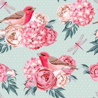 Fundo sem costura vintage de pássaros e flores com bolinhas