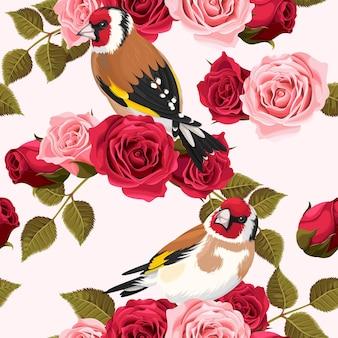 Fundo sem costura vintage pintassilgo e rosas