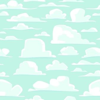 Fundo sem emenda com nuvens dos desenhos animados do vetor