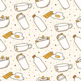Fundo sem emenda de comida de café da manhã no estilo kawaii