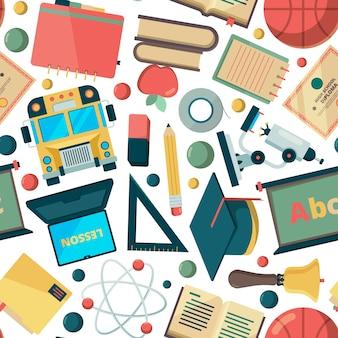 Fundo sem emenda de escola. educação aprendizagem faculdade instituto objetos ferramentas estacionárias professores itens universitários vetor padrão