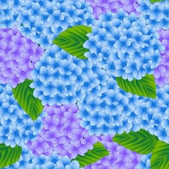 Fundo sem emenda de flor azul e roxo hortênsia