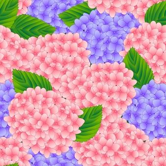 Fundo sem emenda de flor rosa e roxo hortênsia