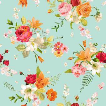 Fundo sem emenda de flores de lírio e orquídea. estampa floral