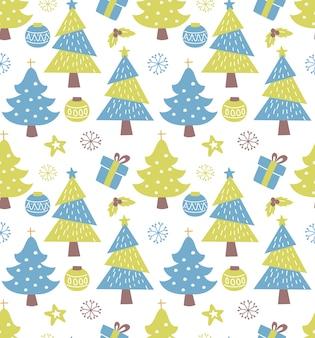 Fundo sem emenda de inverno com árvore de natal decorada