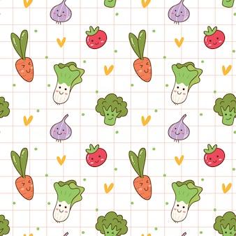 Fundo sem emenda de legumes kawaii