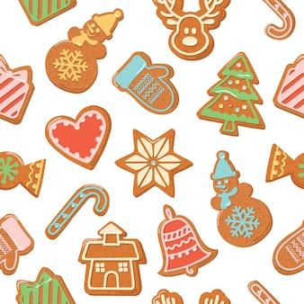 Fundo sem emenda de natal. biscoitos de gengibre coloridos.