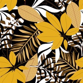 Fundo sem emenda de tendência de verão com folhas e plantas tropicais brilhantes