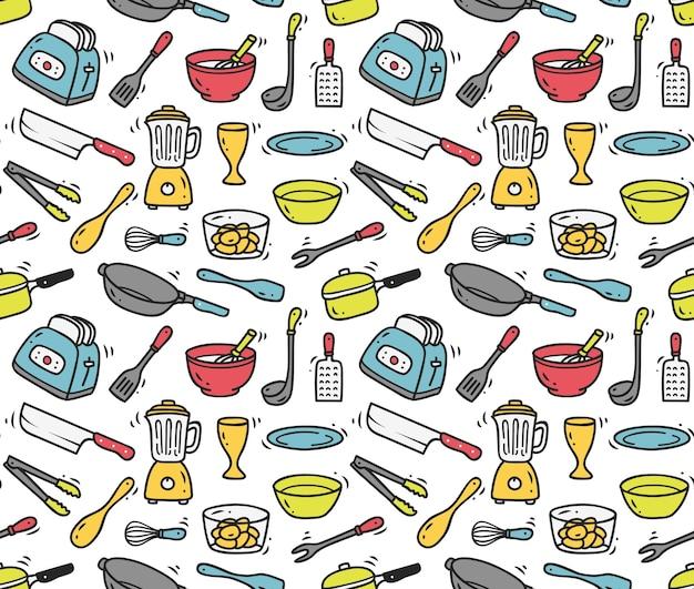 Fundo sem emenda de utensílios de cozinha