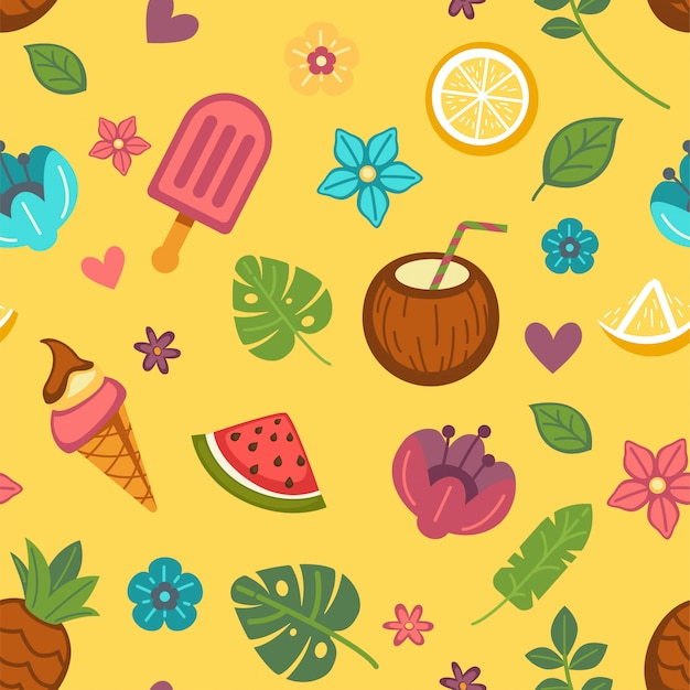 Fundo sem emenda de verão com comida sazonal e flores