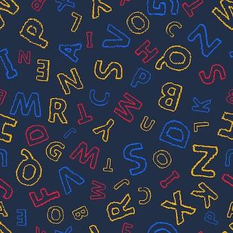 Fundo sem emenda do alfabeto doodle. padrão de vetor sem fim com letras multicoloridas em um fundo escuro.