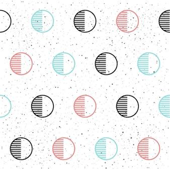 Fundo sem emenda do círculo. preto, azul e rosa. padrão sem emenda abstrato para cartão, convite, cartaz, banner, cartaz, diário, álbum, caderno de desenho, menu etc. estilo de memphis. tema da moda dos anos 80-90.