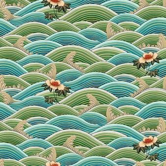 Fundo sem emenda do padrão de onda da arte oriental chinesa