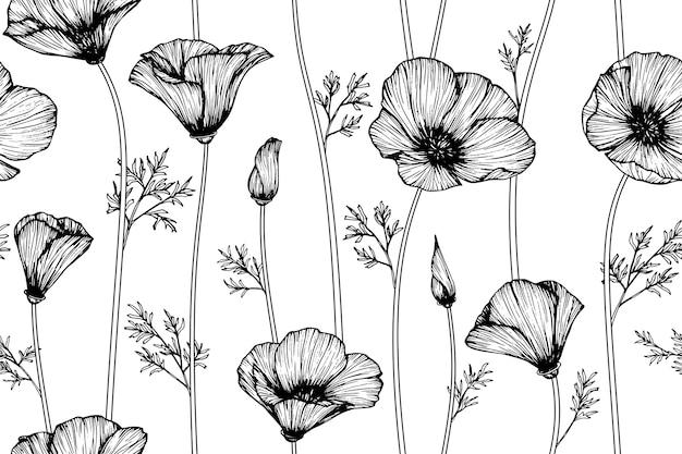 Fundo sem emenda do teste padrão de flor da papoila de califórnia.