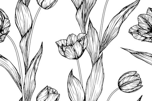 Fundo sem emenda do teste padrão de flor da tulipa.