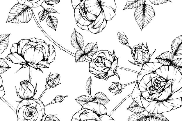 Fundo sem emenda do teste padrão de flor de rosa.
