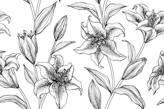 Fundo sem emenda do teste padrão de flor do lírio.