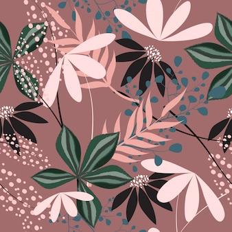 Fundo sem emenda do teste padrão de superfície floral abstrato