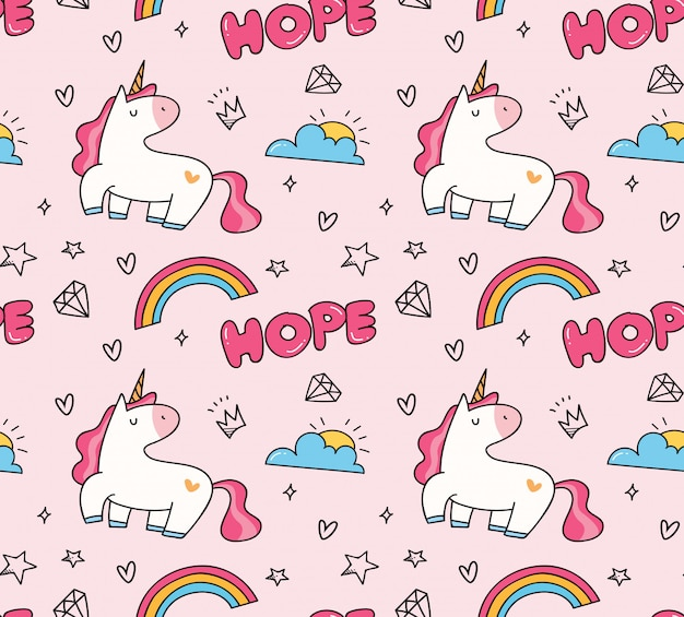 Fundo sem emenda do unicórnio e do arco-íris no estilo do kawaii