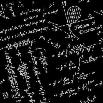 Fundo sem emenda do vetor com símbolos matemáticos brancos em um quadro negro