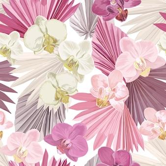 Fundo sem emenda do vetor da orquídea tropical. folhas de palmeira secas tropicais da selva, padrão de flores exóticas. projeto boho aquarela para casamento, impressão têxtil, textura de papel de parede, capa, pano de fundo, decoração
