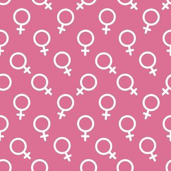 Fundo sem emenda do vetor do ícone do símbolo sexual das mulheres. conceito de poder feminino