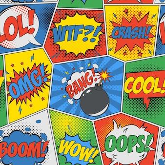 Fundo sem emenda em quadrinhos padrão retrô pop art com balões de fala e bomba